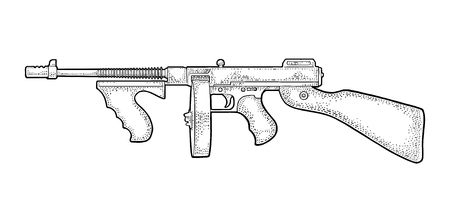 Illustration for Gangsters automatic weapon Tommy gun. Engraving vintage - Royalty Free Image