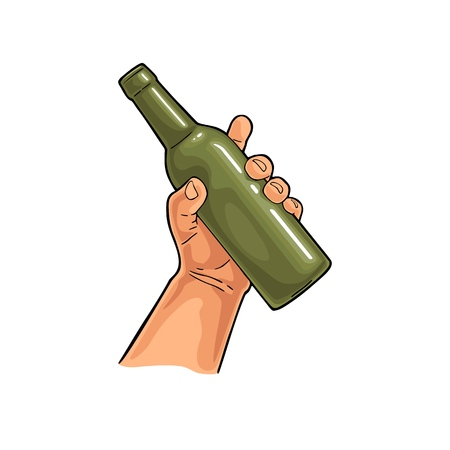 Ilustración de Man hand holding open beer bottle. Vintage vector color flat illustration for web, poster, invitation to party. Isolated on white background. - Imagen libre de derechos