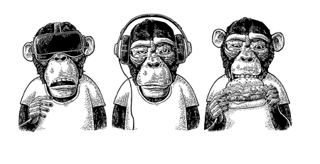 Illustration pour Three wise monkeys in headphones, virtual reality headset, and burger. Not see, not hear, not speak. Vintage black engraving illustration for poster. Isolated on white background. - image libre de droit