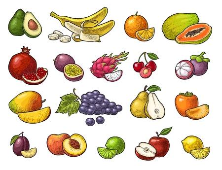 Ilustración de Set of fruits, lime, banana, maracuya, avocado, dragon, lemon, orange, garnet, peach, apple, pear, grape, plum, passion, mangosteen, papaya, persimmon, cherry. - Imagen libre de derechos