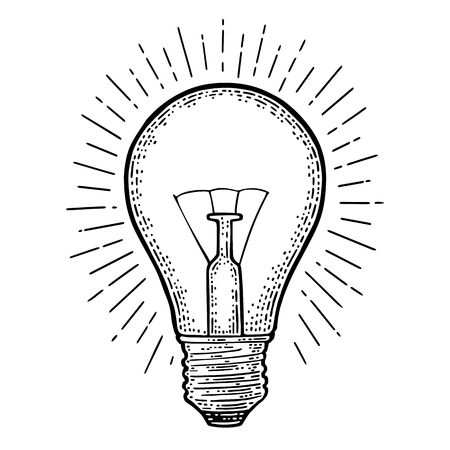 Illustrazione per Glowing light incandescent bulb with ray. Vector vintage black engraving illustration on white background. Hand drawn design element for label and poster - Immagini Royalty Free