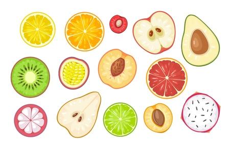 Ilustración de Set slice fruits. Vector color flat illustration lemon, orange, cherry, apple, avocado, kiwi, passion, grapefruit, peach, mangosteen, pear, lime, apricot, dragon, citrus isolated on white background - Imagen libre de derechos