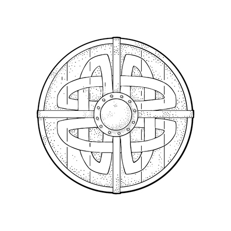 Illustration pour Wood round shield with viking runes. Vintage vector black engraving illustration. Isolated on white background. Hand drawn design element for poster, label, postmark - image libre de droit