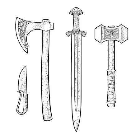 Illustration pour Set edged weapons viking. Knife, axe, sword and hammer with runes. Vintage vector black engraving illustration. Isolated on white background. Hand drawn design element for poster, label, tattoo - image libre de droit