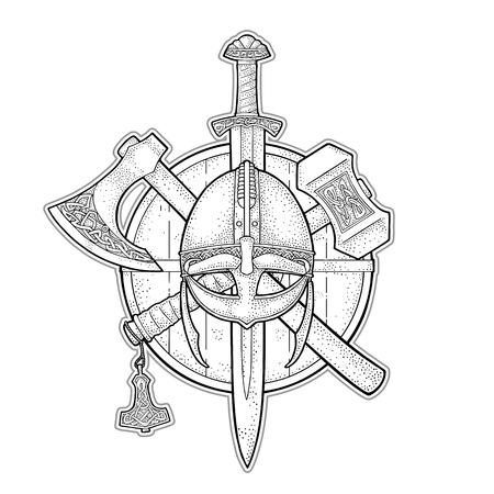 Ilustración de Set edged weapons viking. Knife, axe, helmet, sword, hammer with runes. Vintage vector black engraving illustration isolated on white background. Hand drawn design element for poster, label, tattoo - Imagen libre de derechos