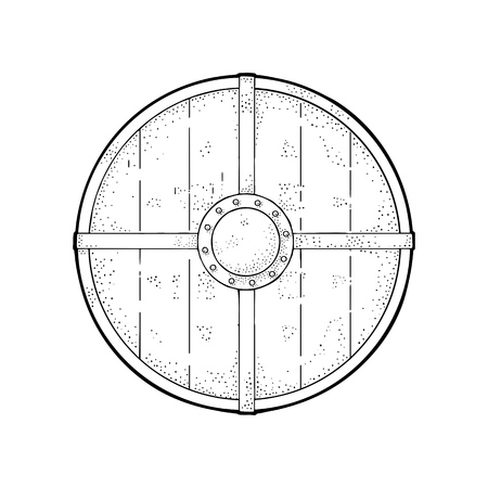 Illustration pour Wood round shield with iron border. Vintage vector black engraving illustration. Isolated on white background. Hand drawn design element for poster, label, tattoo - image libre de droit