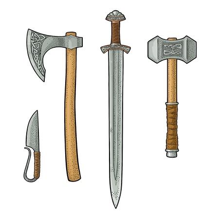 Illustration pour Set edged weapons viking. Knife, axe, sword, hammer. Vintage engraving. - image libre de droit