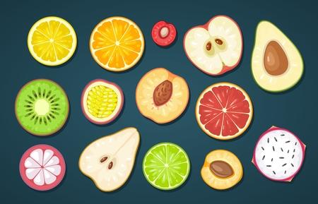 Ilustración de Set slice fruits on dark background - Imagen libre de derechos