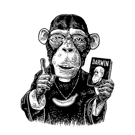 Ilustración de Monkey dressed in a cassock and banana chain. Priest holding book Darwin the theory of evolution and points with his finger up. Vintage black engraving illustration for poster. Isolated on white - Imagen libre de derechos