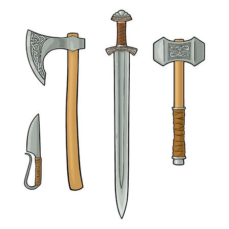 Illustration pour Set edged weapons viking. Knife, axe, sword and hammer with runes. Vintage vector color engraving illustration. Isolated on white background. Hand drawn design element for poster, label, tattoo - image libre de droit
