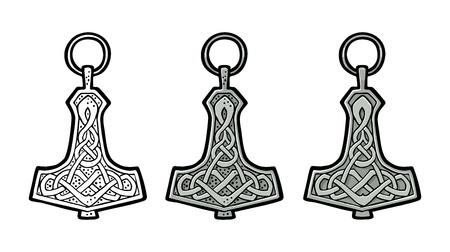 Illustration for Vking hammer thor amulet with runes. Vintage vector color engraving. - Royalty Free Image