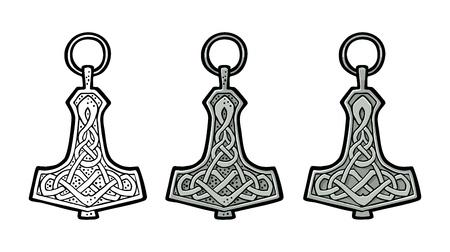 Ilustración de Vking hammer thor amulet with runes. Vintage vector color engraving. - Imagen libre de derechos