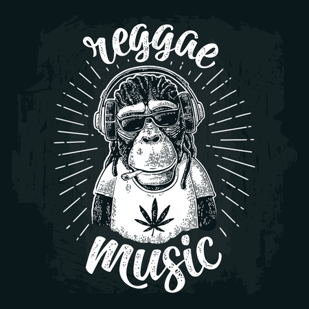 Illustration pour Monkey hipster with dreadlocks in headphones, sunglasses and t-shirt. - image libre de droit