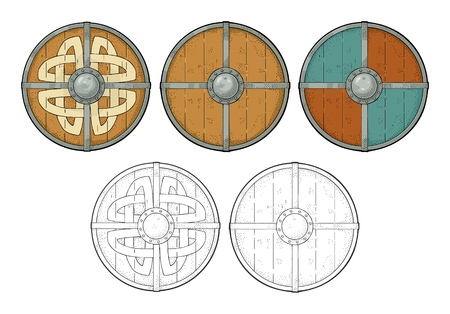 Illustration pour Set wood round shields with viking runes, iron border. Engraving - image libre de droit