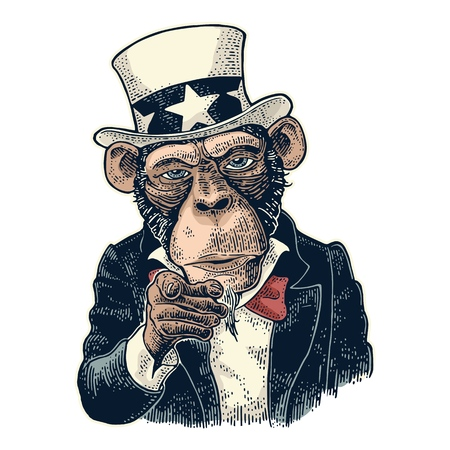 Illustration pour Monkey Uncle Sam with pointing finger at viewer, from front. I Want You. Vintage color engraving illustration for recruiting poster. Isolated on white background. Hand drawn design element - image libre de droit