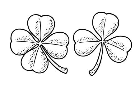 Ilustración de Good luck four and three leaf clover. - Imagen libre de derechos