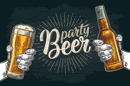 Illustration for Two male hands holding and clinking glass and bottle. Beer party calligraphic handwriting lettering. Vintage vector color engraving illustration for invitation. Isolated on dark background. - Royalty Free Image