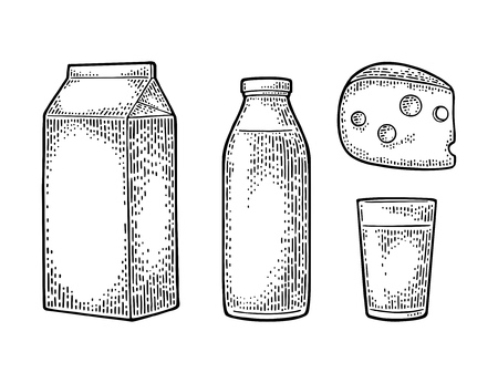 Illustration for Milk box carton package, glass, bottle, cheese. Vector engraving vintage black illustration. Isolated on white background. - Royalty Free Image