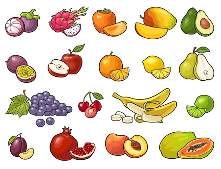 Illustration for Set fruits. Mango, lime, banana, maracuya, avocado, dragon, lemon, orange, garnet, peach, apple, pear, grape, plum, passion, mangosteen, papay, persimmon, cherry. Vector color vintage engraving isolated - Royalty Free Image