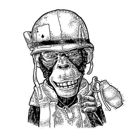 Illustration pour Monkey in soldier helmet holding grenade Vintage black engraving - image libre de droit