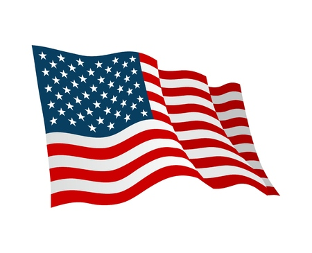 Ilustración de American flag. Vector flat color illustration isolated on white background. - Imagen libre de derechos