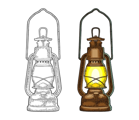 Illustrazione per Antique retro gas lamp. Vintage color engraving illustration for poster, web. Isolated on white background. - Immagini Royalty Free