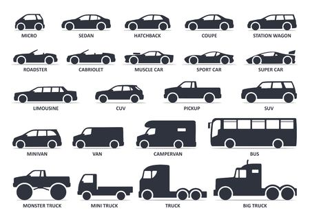 Ilustración de Car type icons set. Vector black illustration isolated on white background with shadow. Variants of model automobile body silhouette for web with title. - Imagen libre de derechos