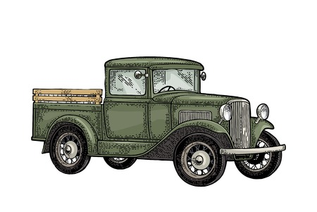 Ilustración de Retro pickup truck. Side view. Vintage color engraving illustration for poster, web. Isolated on white background. Hand drawn design element - Imagen libre de derechos