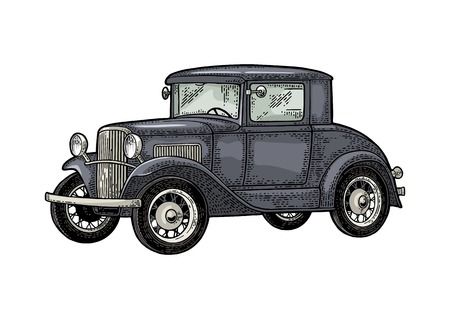Illustration for Retro car coupe. Side view. Vintage color engraving - Royalty Free Image