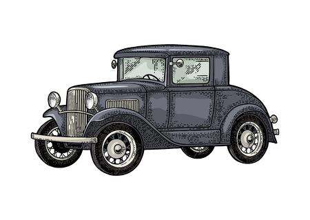 Ilustración de Retro car coupe. Side view. Vintage color engraving - Imagen libre de derechos