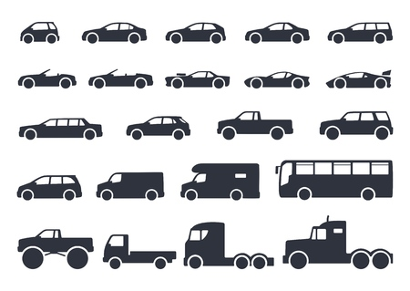Illustrazione per Car type icons set. Vector black illustration isolated on white background with shadow. Variants of model automobile body silhouette for web - Immagini Royalty Free
