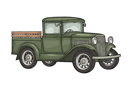 Illustration for Retro pickup truck. Side view. Vintage black engraving - Royalty Free Image