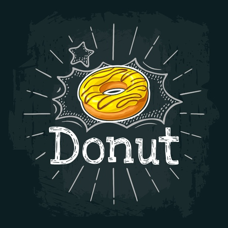 Ilustración de Donut with yellow icing and chocolate sprinkles. Vector color flat illustration for poster and menu bakery shop. Isolated on black chalkboard with vintage white chalk engraving ray, lettering, bubble - Imagen libre de derechos