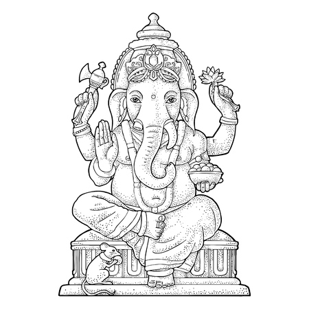 Illustration pour Ganpati with mouse for poster Ganesh Chaturthi. Engraving vintage vector black illustration. Isolated on white background. Hand drawn design element - image libre de droit