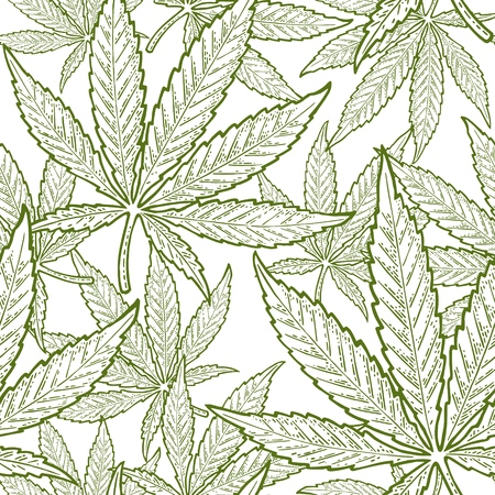 Ilustración de Seamless pattern with marijuana leaf. Hand drawn design element cannabis. Vintage green vector engraving illustration for label, poster, web. Isolated on white background - Imagen libre de derechos