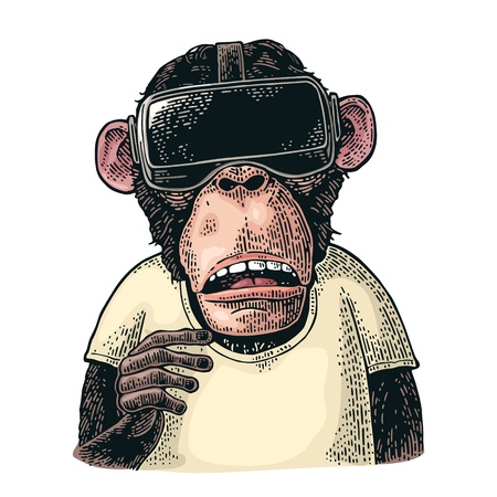 Illustration for Monkey wearing virtual reality headset and t-shirt. Vintage color engraving illustration for poster. Isolated on white background - Royalty Free Image