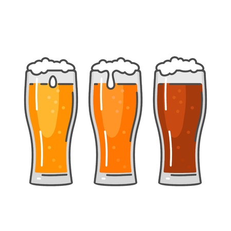 Ilustración de Glass with three types beer - light, red and porter. Color flat vector illustration. Isolated on white background. - Imagen libre de derechos