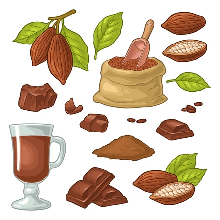 Ilustración de Chocolate piece, bar, shave. Fruits of cocoa with leaves and beans. Vector vintage color illustration. Isolated on white background. Hand drawn design element for label and poster - Imagen libre de derechos