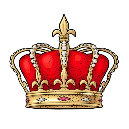Illustration for King crown. Engraving vintage vector color illustration. Isolated on white background. Hand drawn design element for label and poster - Royalty Free Image