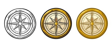 Ilustración de Compass rose isolated on white background. Vector color vintage engraving illustration. For poster yacht club. - Imagen libre de derechos