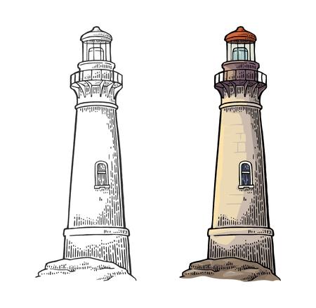 Illustration pour Lighthouse isolated on white background. Vector color vintage engraving illustration. - image libre de droit