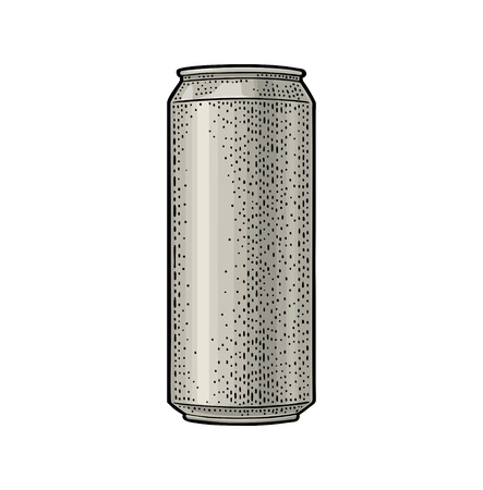 Illustration pour Aluminum can. Hand drawn vector color vintage engraving illustration isolated on on white background. For web, poster, invitation to beer party. - image libre de droit