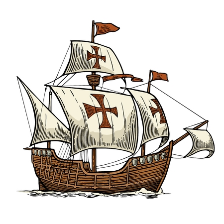 Ilustración de Sailing ship floating on the sea waves. Caravel Santa Maria. Hand drawn design element. Vintage color vector engraving illustration for poster Day Columbus . Isolated on white background. - Imagen libre de derechos