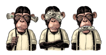 Ilustración de Three wise monkeys with money on ears, eyes, mouth. Not see, not hear, not speak. Vintage color engraving illustration for poster, web, t-shirt, tattoo. Isolated on white background - Imagen libre de derechos