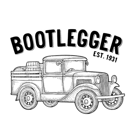 Illustration pour Retro pickup truck with wood barrel. Side view. Bootlegger lettering. Vintage black engraving illustration. Isolated on white background. Hand drawn design element for label, signboard and poster - image libre de droit