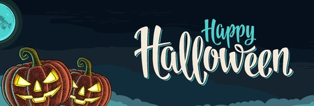 Illustration pour Horizontal poster with Happy Halloween calligraphy lettering. Pumpkin scary face. Vector color vintage engraving illustration on on night sky background - image libre de droit