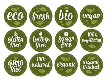 Ilustración de Gluten, lactose, sugar, gmo free lettering. Sign 100% organic food - Imagen libre de derechos