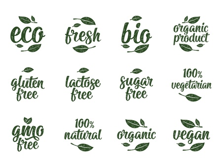 Ilustración de Gluten, lactose, sugar, Gmo free, bio, eco, fresh calligraphic handwriting lettering with leaf, cube, drop. Vector white vintage illustration on white. Sign for 100% natural organic food sticker - Imagen libre de derechos