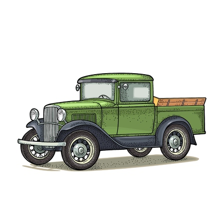 Illustration for Retro pickup truck. Side view. Vintage color engraving illustration for poster, web. Isolated on white background. Hand drawn design element - Royalty Free Image