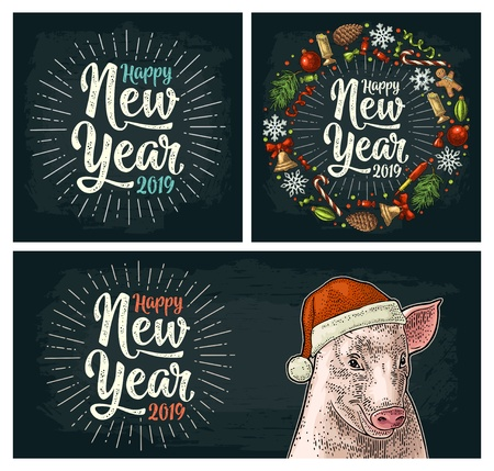 Illustration for Pig head in Santa Claus hat. Happy New Year 2019 calligraphy lettering with salute. Circle shape set with candy, rocket, snowflake, pine cone, fir branch, toy. Vector color vintage engraving on dark - Royalty Free Image